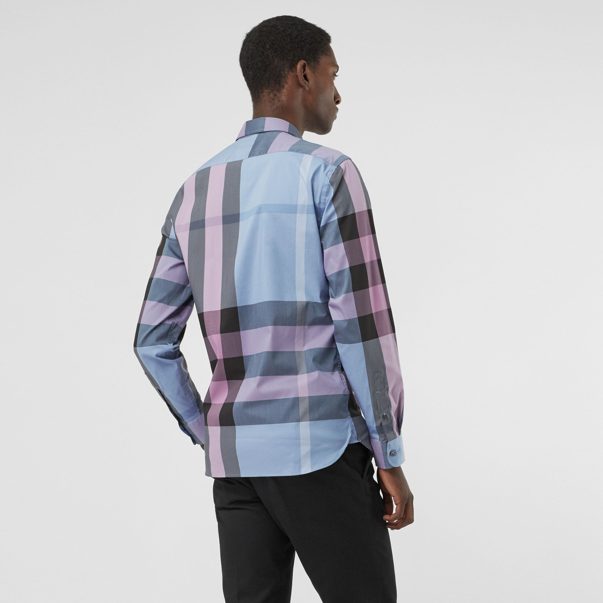 Button-down Collar Check Stretch Cotton Blend Shirt in Chalk Blue - Men | Burberry United States - gallery image 2