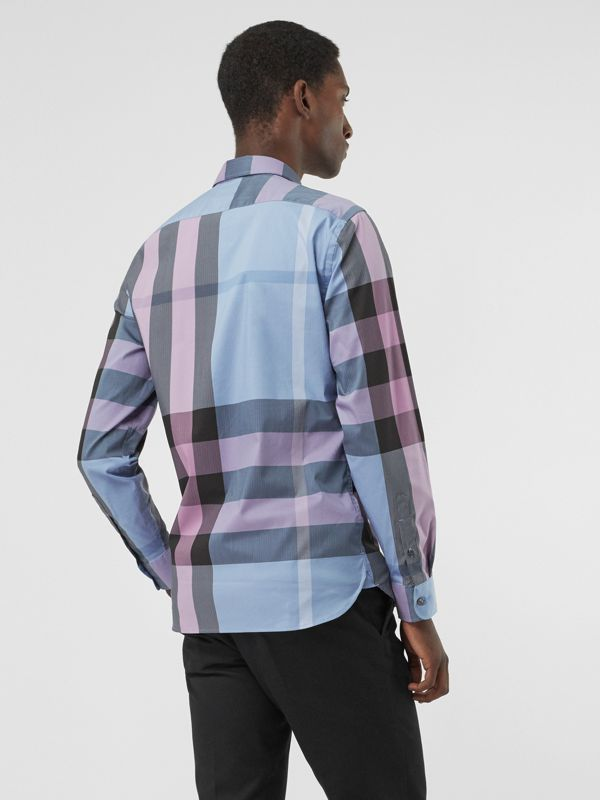 Button-down Collar Check Stretch Cotton Blend Shirt in Chalk Blue - Men | Burberry United States - cell image 2