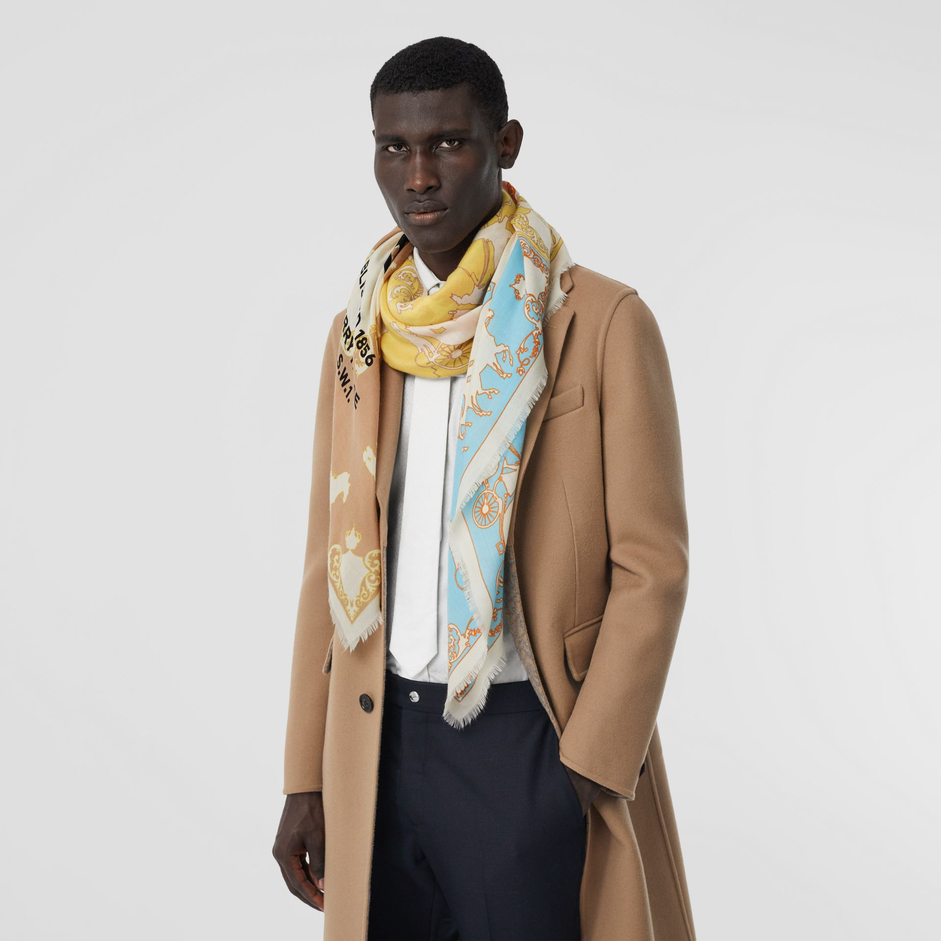 Archive Scarf Print Cashmere Large Square Scarf in Multicolour | Burberry - gallery image 3