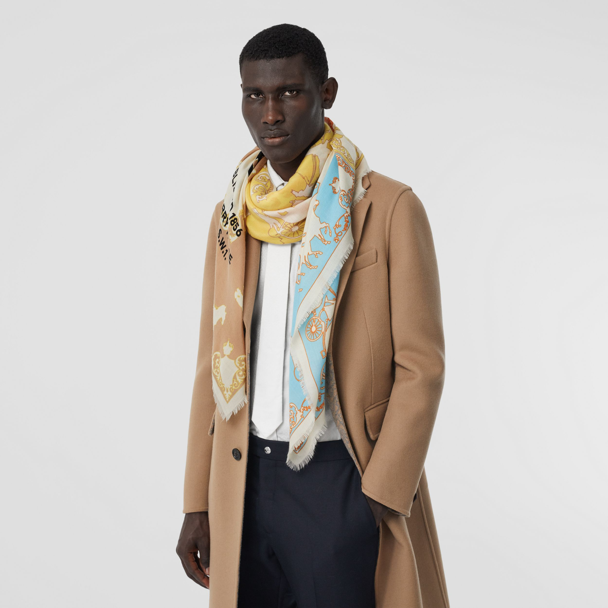 Archive Scarf Print Cashmere Large Square Scarf in Multicolour - Men | Burberry - 4