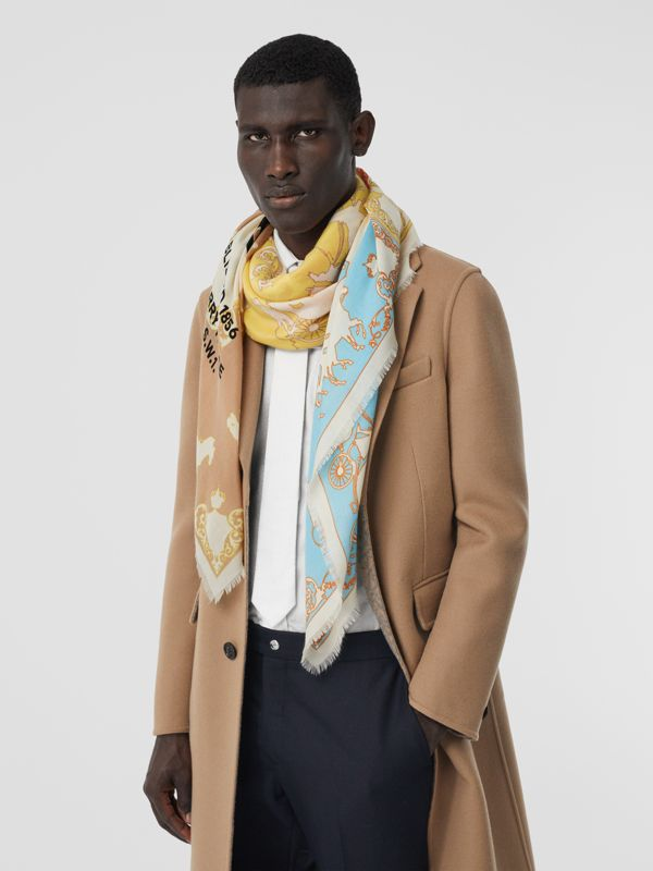 Archive Scarf Print Cashmere Large Square Scarf in Multicolour | Burberry Canada - cell image 2