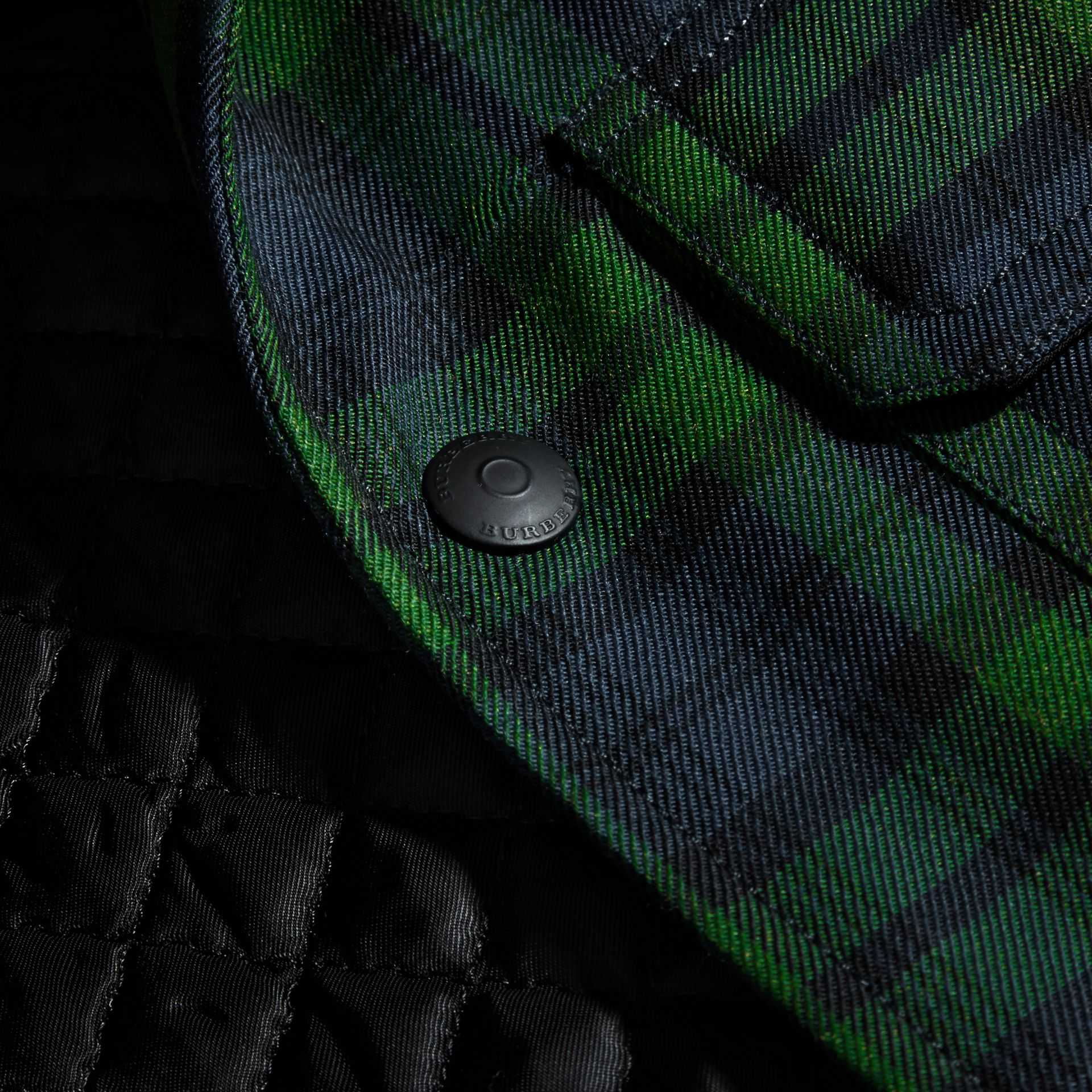 Dark forest green Tartan Wool Wadded Shirt - gallery image 2