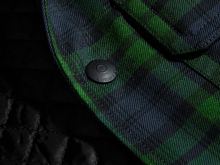 Dark forest green Tartan Wool Wadded Shirt - cell image 1