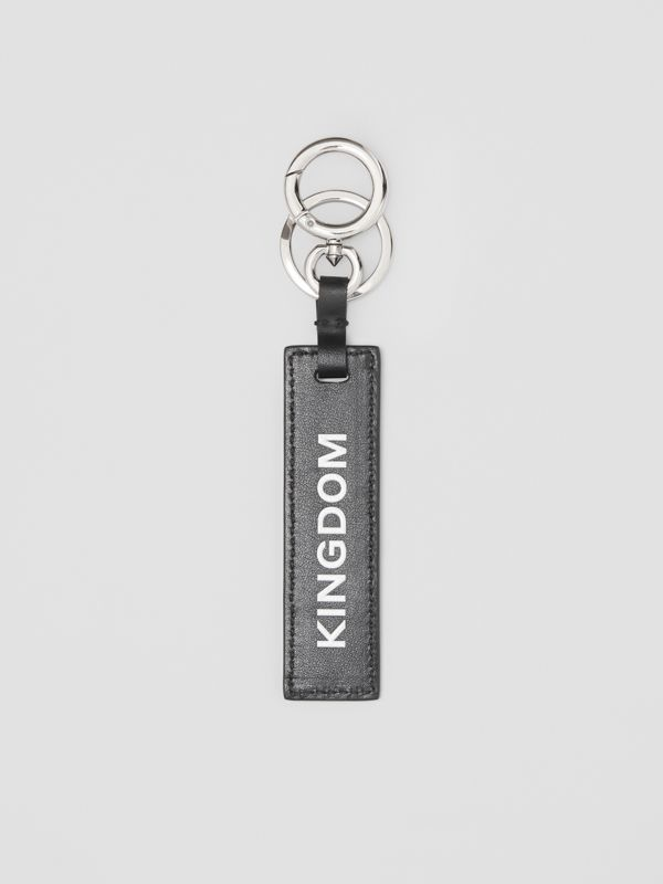 Kingdom Print Leather Key Ring in Black - Men | Burberry United States - cell image 2