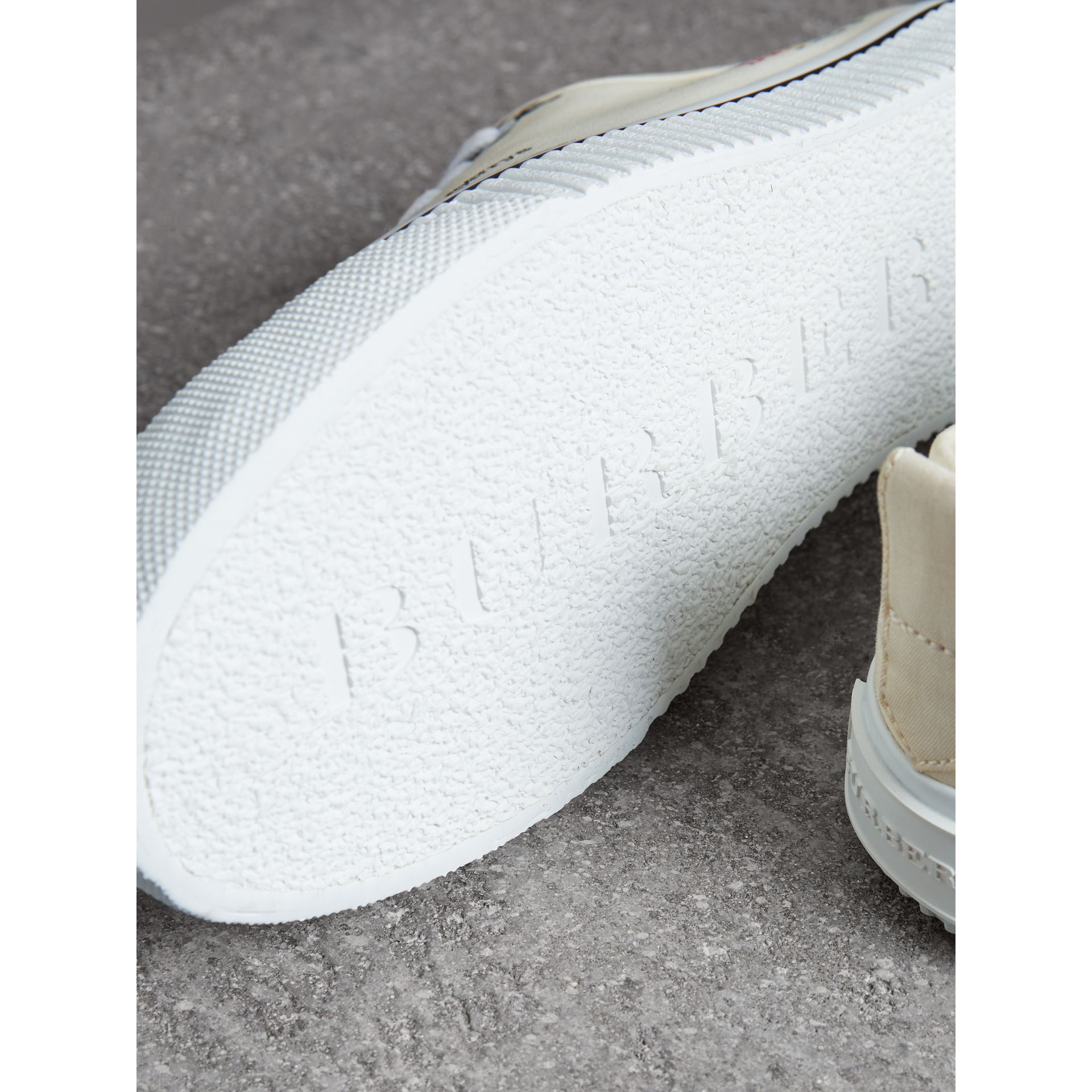 Archive Logo Cotton Gabardine Sneakers in Off White | Burberry - gallery image 1