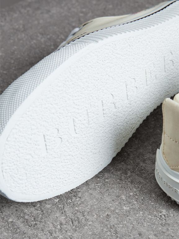 Archive Logo Cotton Gabardine Sneakers in Off White | Burberry Hong Kong - cell image 1