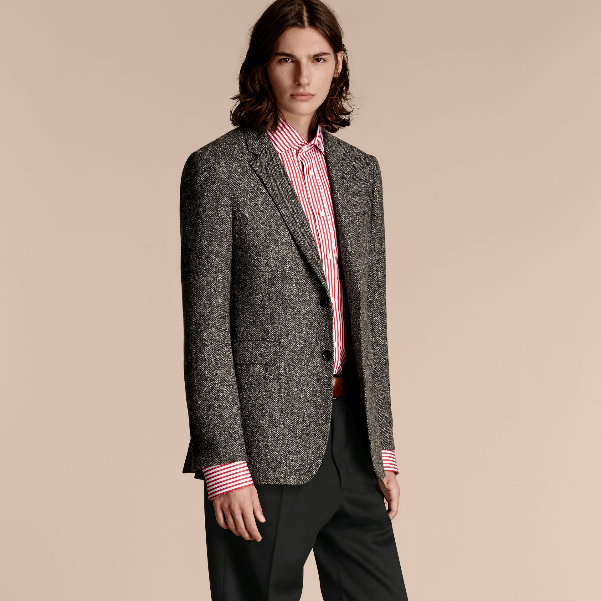 Dark grey Tailored Wool Cashmere Blend Donegal Tweed Jacket - gallery image 6