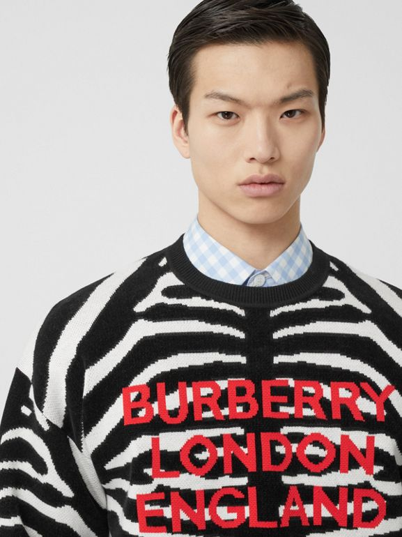 Zebra and Logo Wool Blend Jacquard Sweater in Black | Burberry United Kingdom - cell image 1