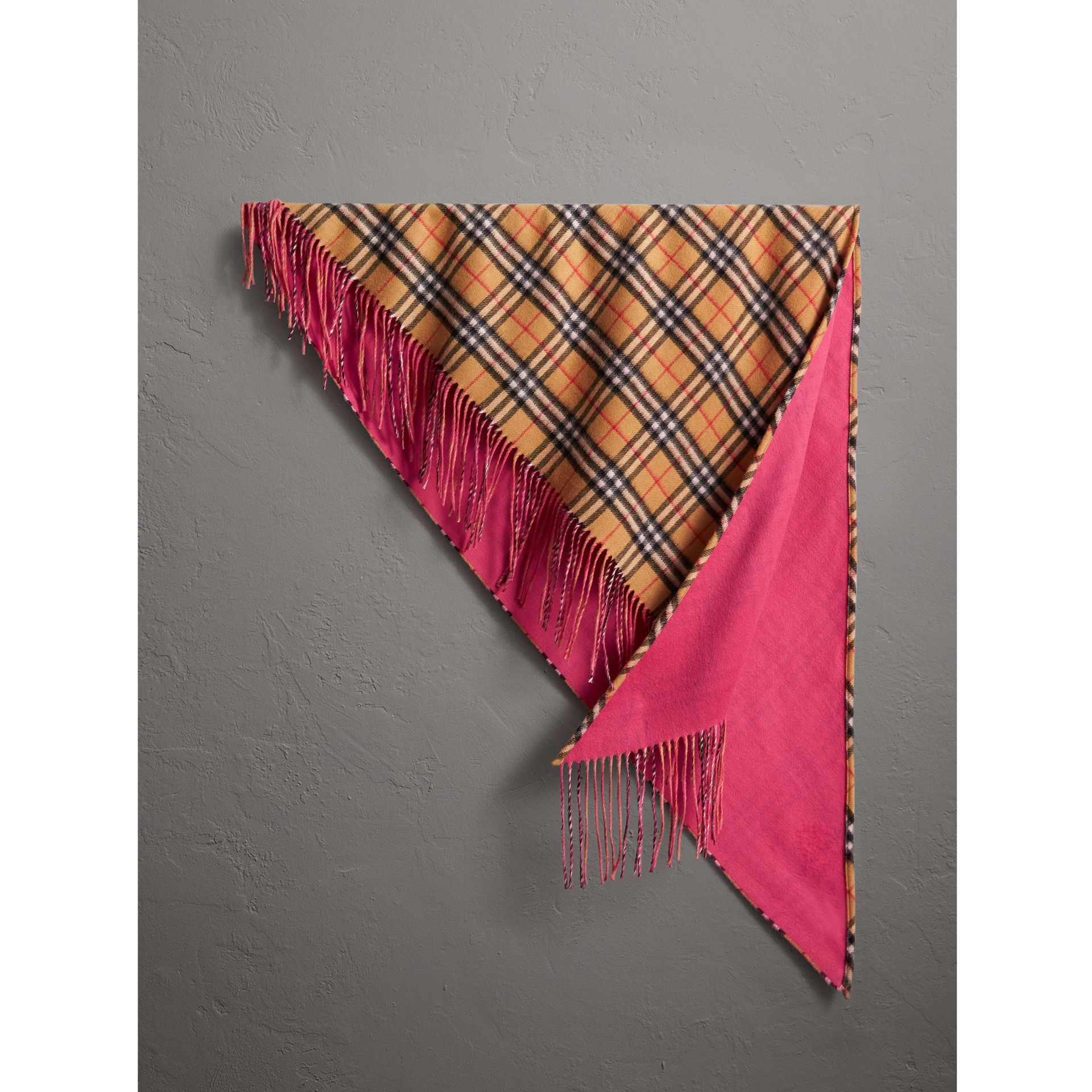 The Burberry Bandana in Vintage Check and Neon Cashmere in Bright Peony | Burberry United Kingdom - gallery image 0