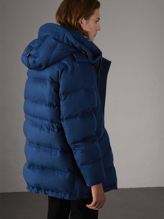 Down-filled Cashmere Hooded Parka in Teal Blue Melange - Men | Burberry United Kingdom - cell image 2