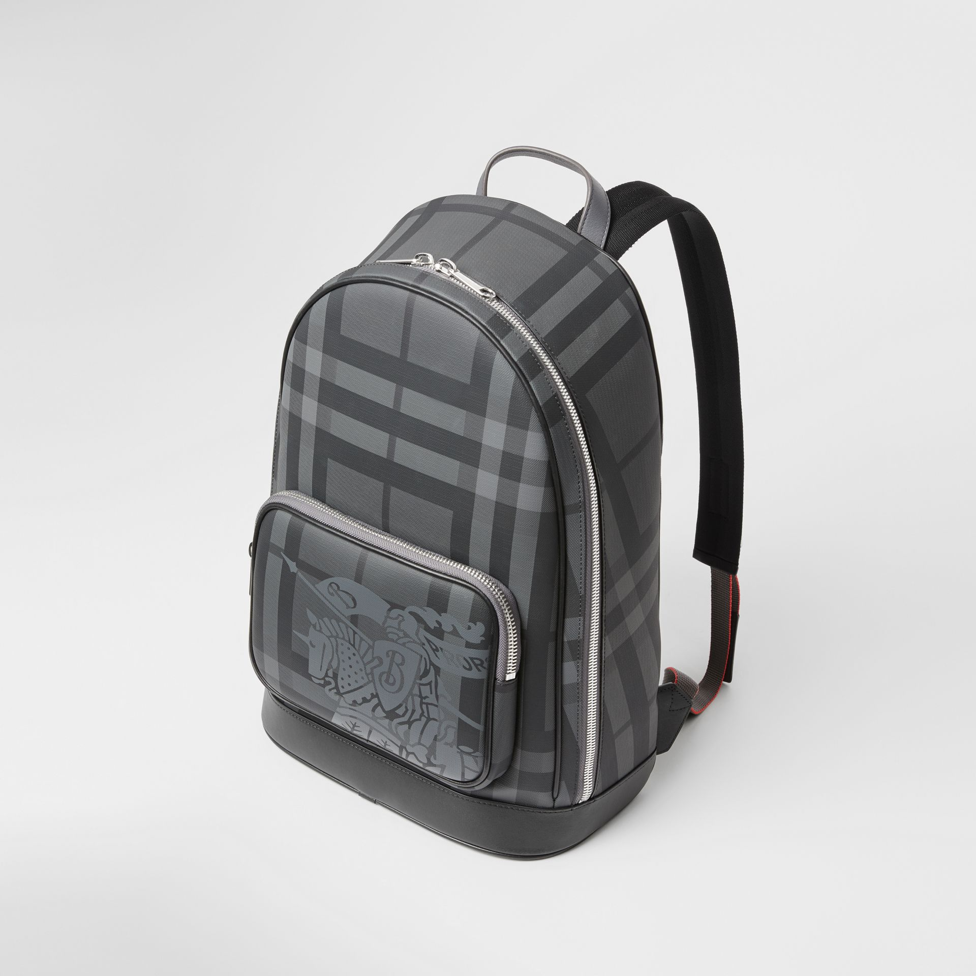 EKD London Check and Leather Backpack in Charcoal/black - Men | Burberry Singapore - gallery image 4