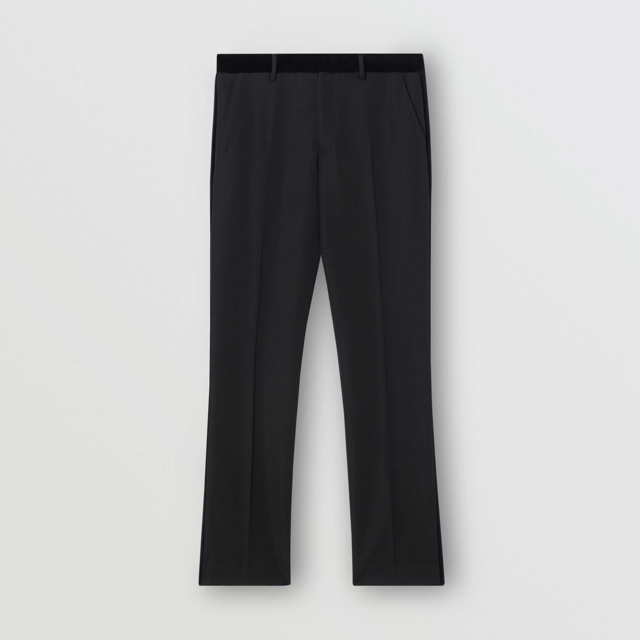 Classic Fit Velvet Trim Wool Tailored Trousers in Black - Men | Burberry - 4