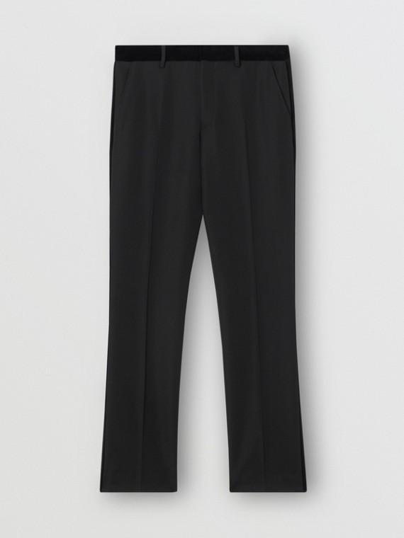 經典剪裁絲絨飾邊羊毛量裁長褲 (黑色)