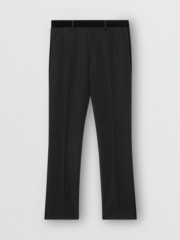Classic Fit Velvet Trim Wool Tailored Trousers in Black - Men | Burberry - cell image 3