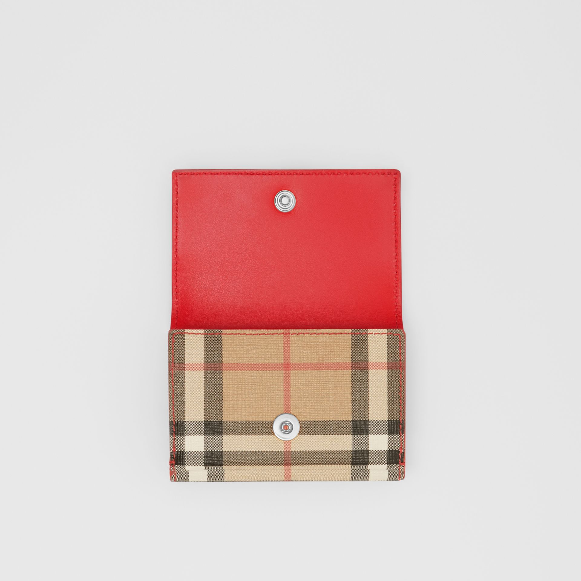 Small Vintage Check E-canvas Folding Wallet in Bright Military Red - Women | Burberry United States - gallery image 6
