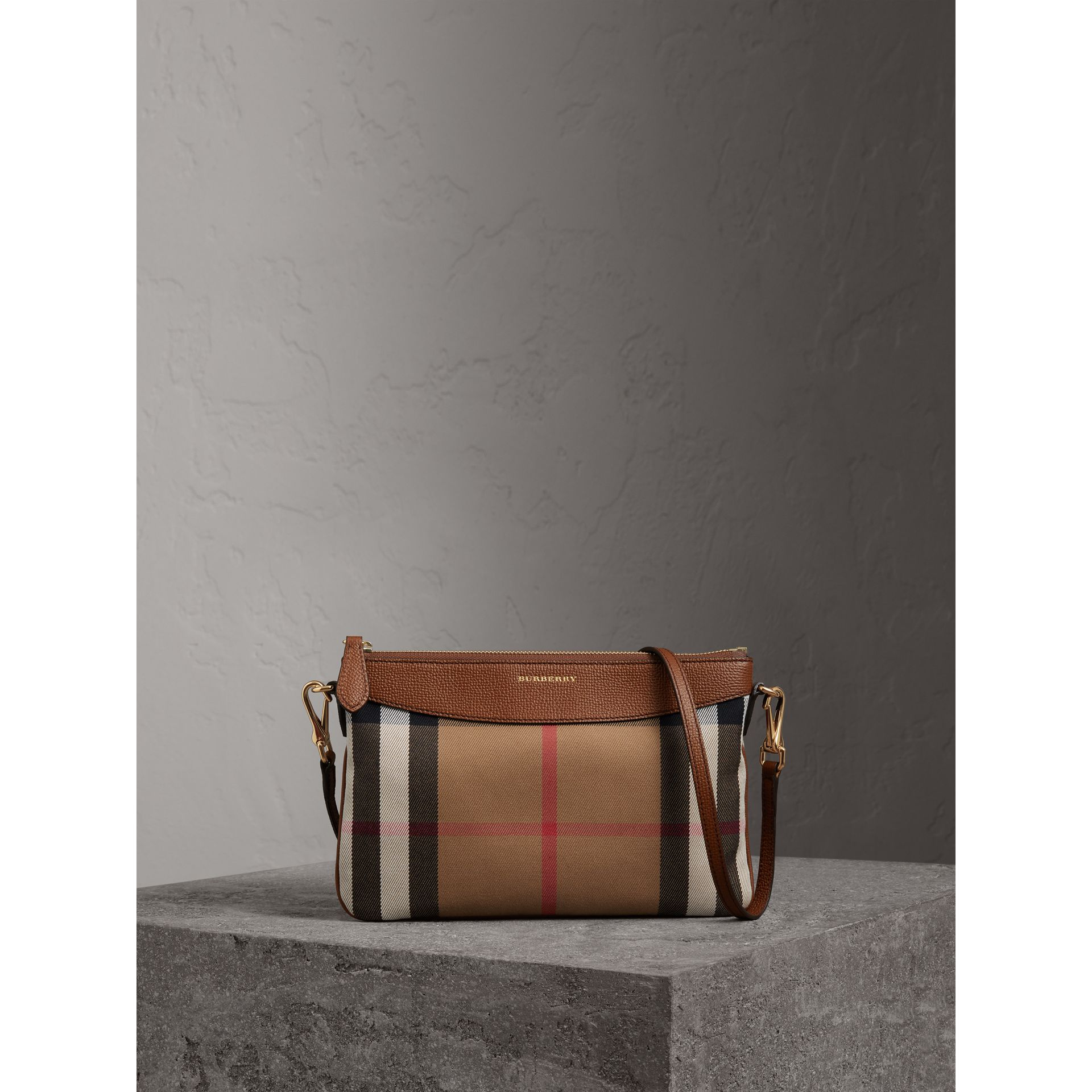 House Check and Leather Clutch Bag in Tan - Women | Burberry Singapore - gallery image 0
