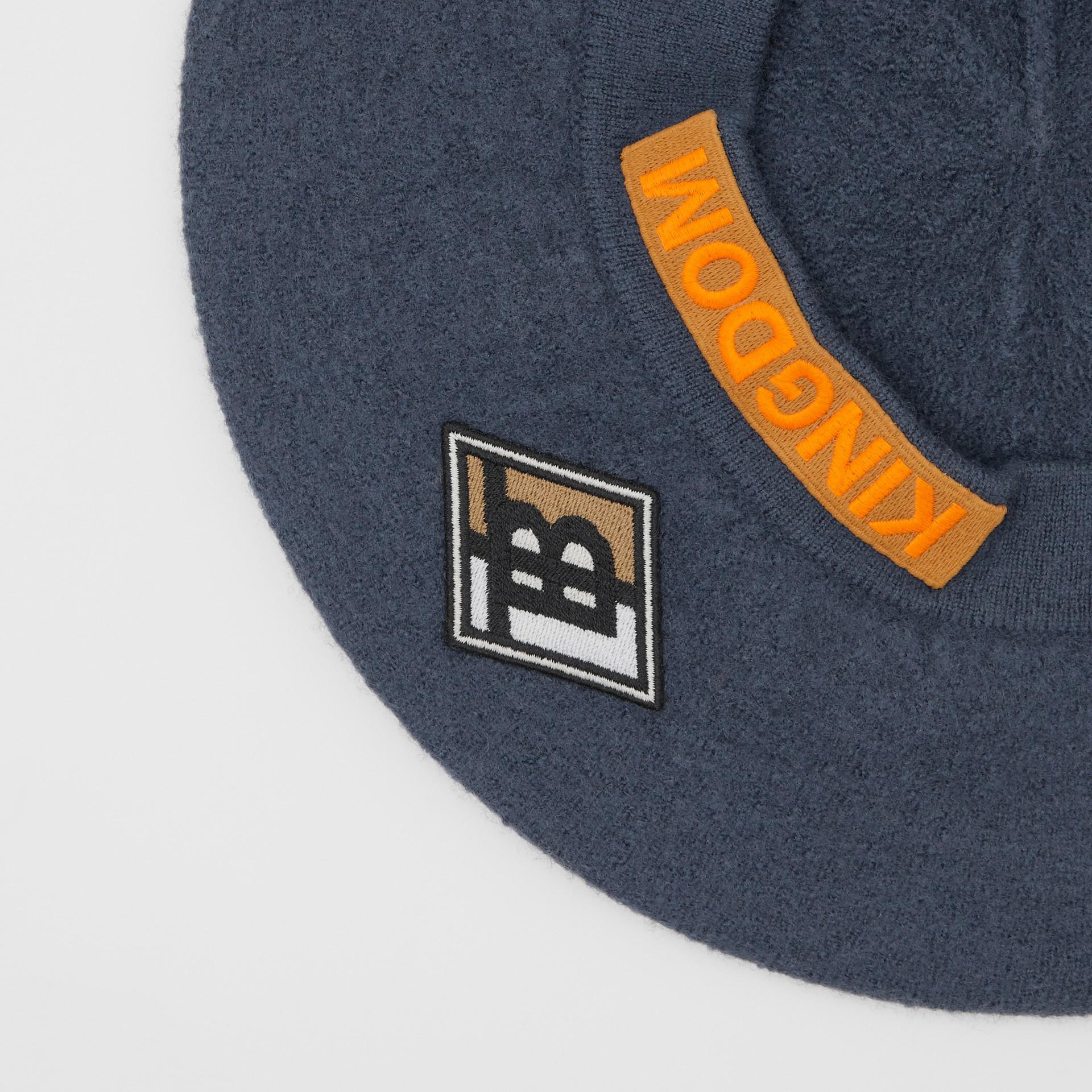 Logo Graphic Merino Wool Beret in Navy Stone | Burberry - gallery image 1