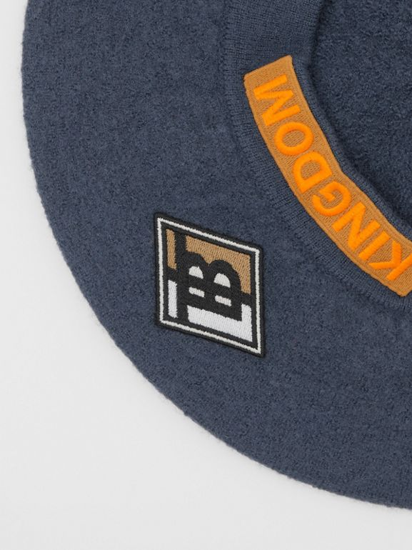 Logo Graphic Merino Wool Beret in Navy Stone | Burberry - cell image 1