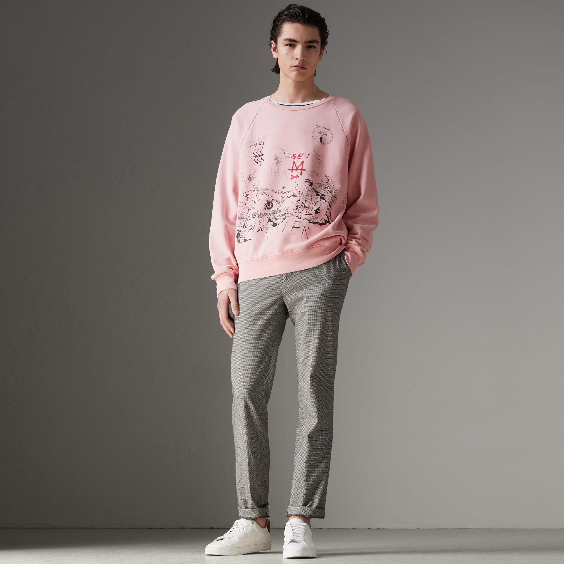 Adventure Print Cotton Sweatshirt in Light Pink - Men | Burberry - gallery image 4