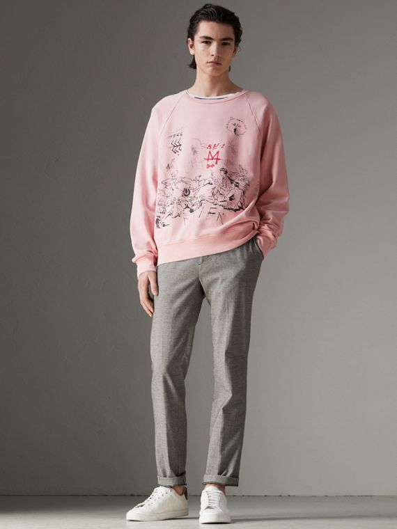 Adventure Print Cotton Sweatshirt in Light Pink