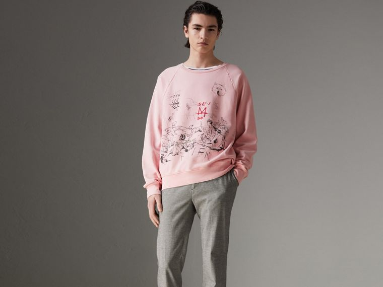 Adventure Print Cotton Sweatshirt in Light Pink - Men | Burberry - cell image 4