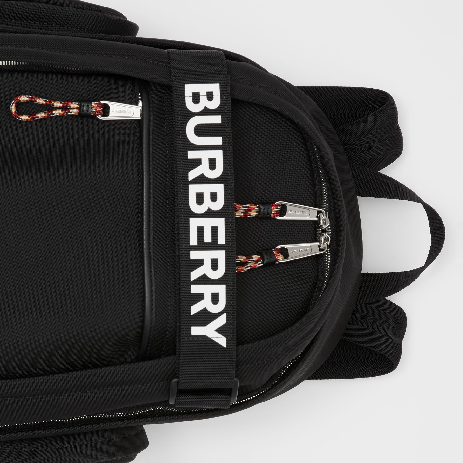 Large Logo and Kingdom Detail Nevis Backpack in Black/white | Burberry Hong Kong S.A.R - gallery image 1