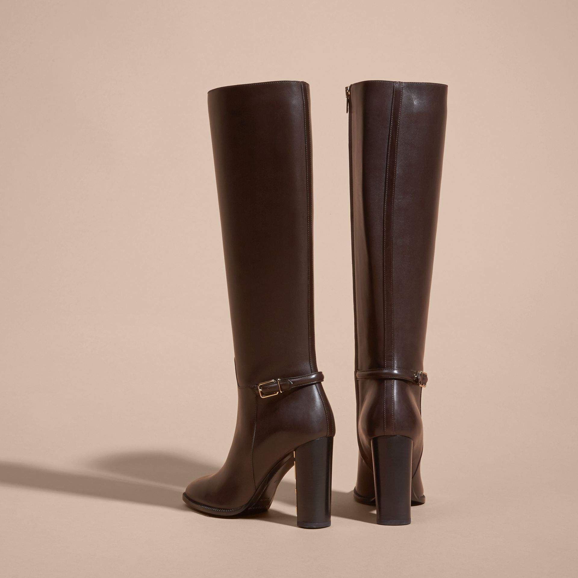 Chestnut Knee-high Leather Boots - gallery image 4