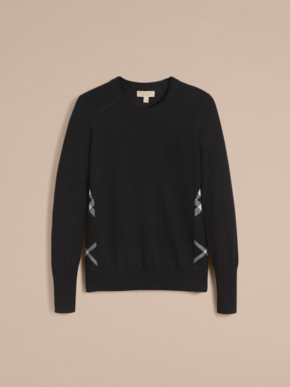 Check Detail Merino Wool Sweater in Black - Women | Burberry Singapore - cell image 3