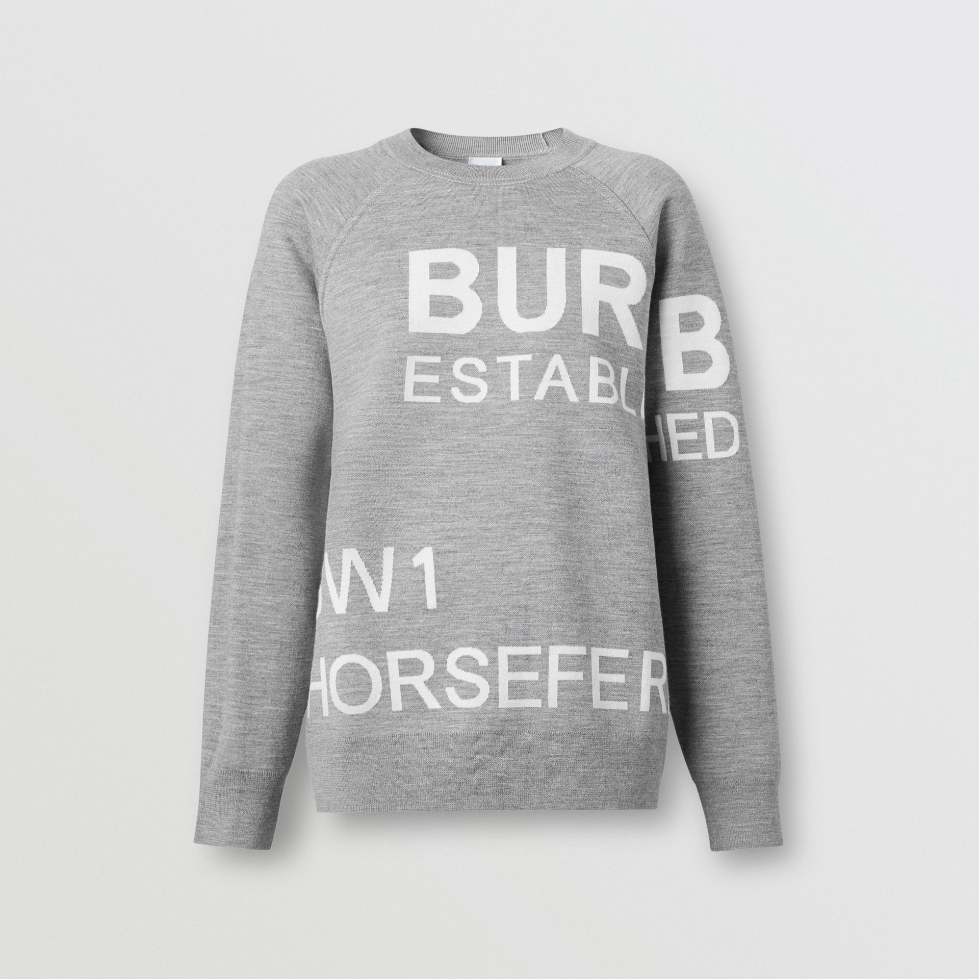 Horseferry Merino Wool Blend Jacquard Sweater in Grey Melange - Women | Burberry United Kingdom - gallery image 3