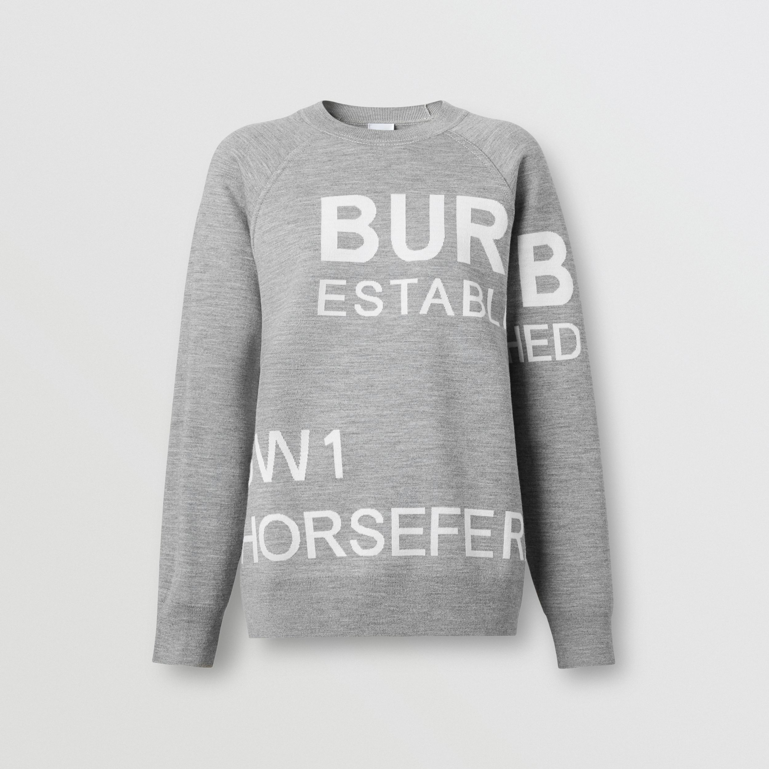 Horseferry Merino Wool Blend Jacquard Sweater in Grey Melange - Women | Burberry - 4