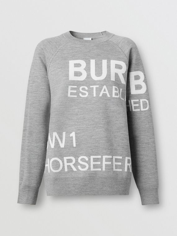 Horseferry Merino Wool Blend Jacquard Sweater in Grey Melange