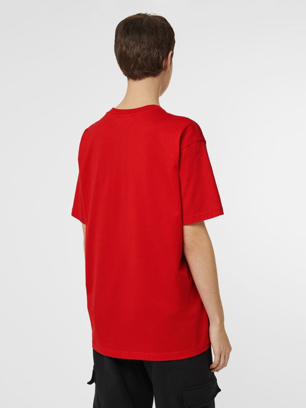 Horseferry Print Cotton Oversized T-shirt in Bright Red - Women | Burberry Singapore - cell image 2