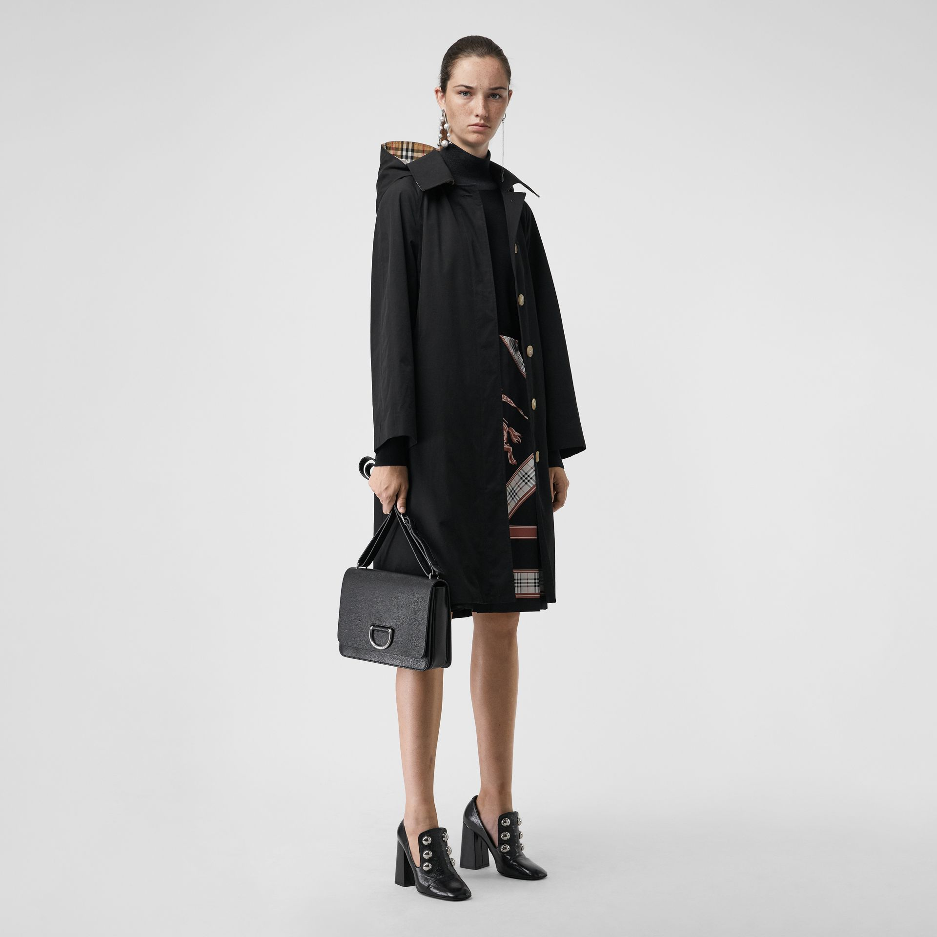 Detachable Hood Tropical Gabardine Car Coat in Black - Women | Burberry Hong Kong - gallery image 0