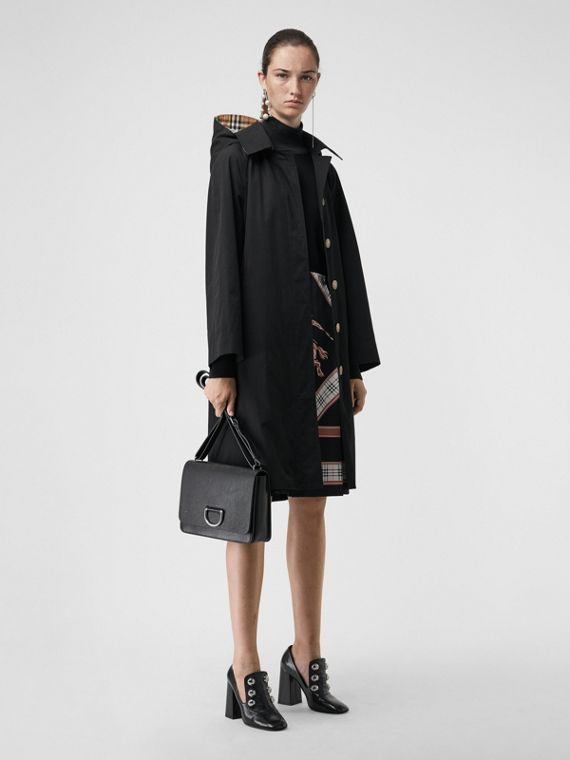 Detachable Hood Oversized Car Coat in Black