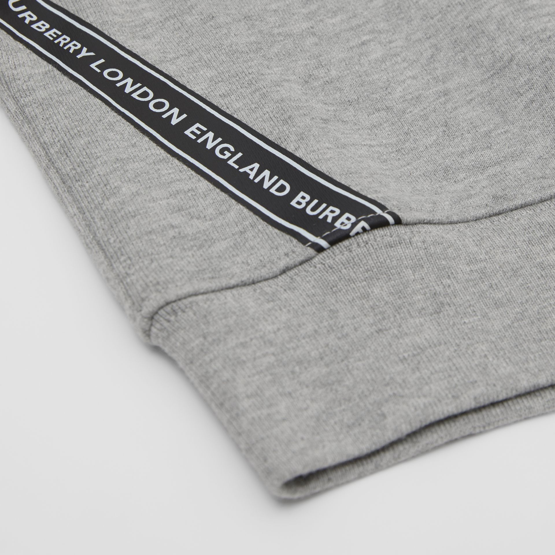 Logo Tape Cotton Sweatshirt in Grey Melange - Children | Burberry - gallery image 1