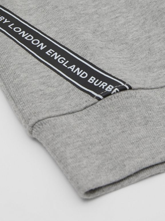 Logo Tape Cotton Sweatshirt in Grey Melange - Children | Burberry - cell image 1
