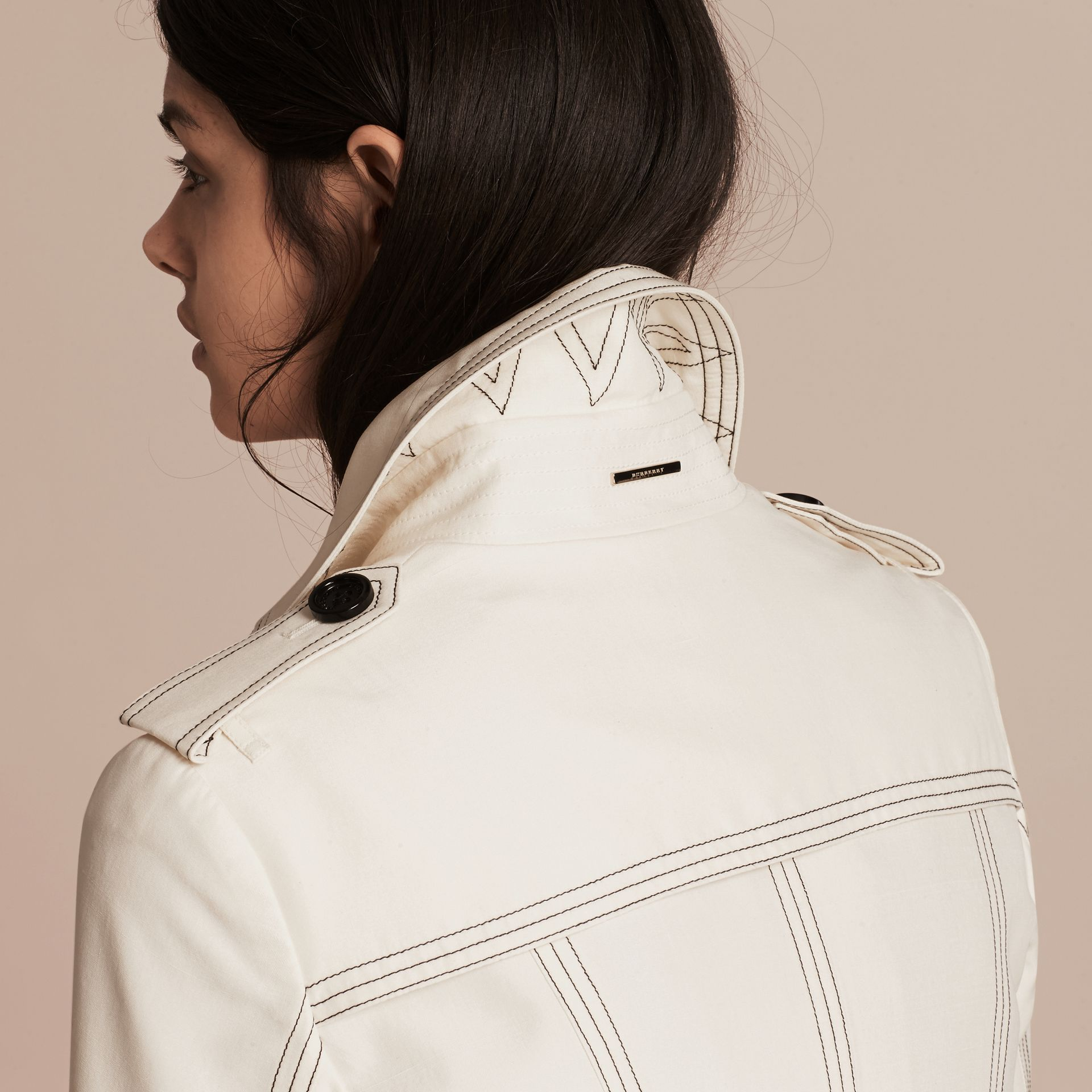 Parchment Silk Trench Coat with Topstitch Detail - gallery image 6