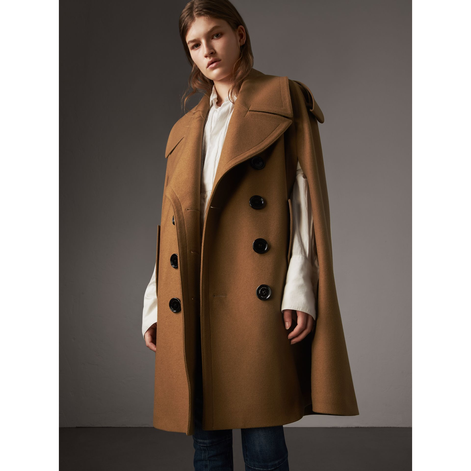 Wool Double-breasted Military Cape in Camel - Women | Burberry Hong Kong - gallery image 1