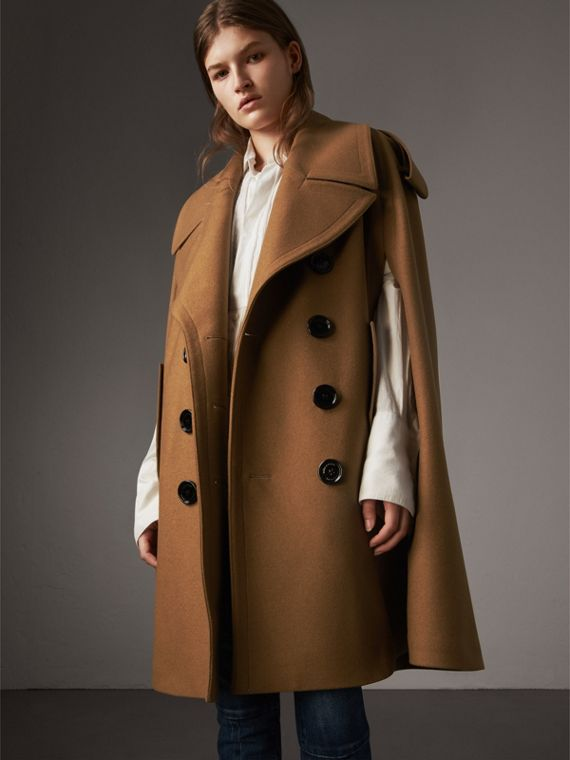 Wool Double-breasted Military Cape in Camel