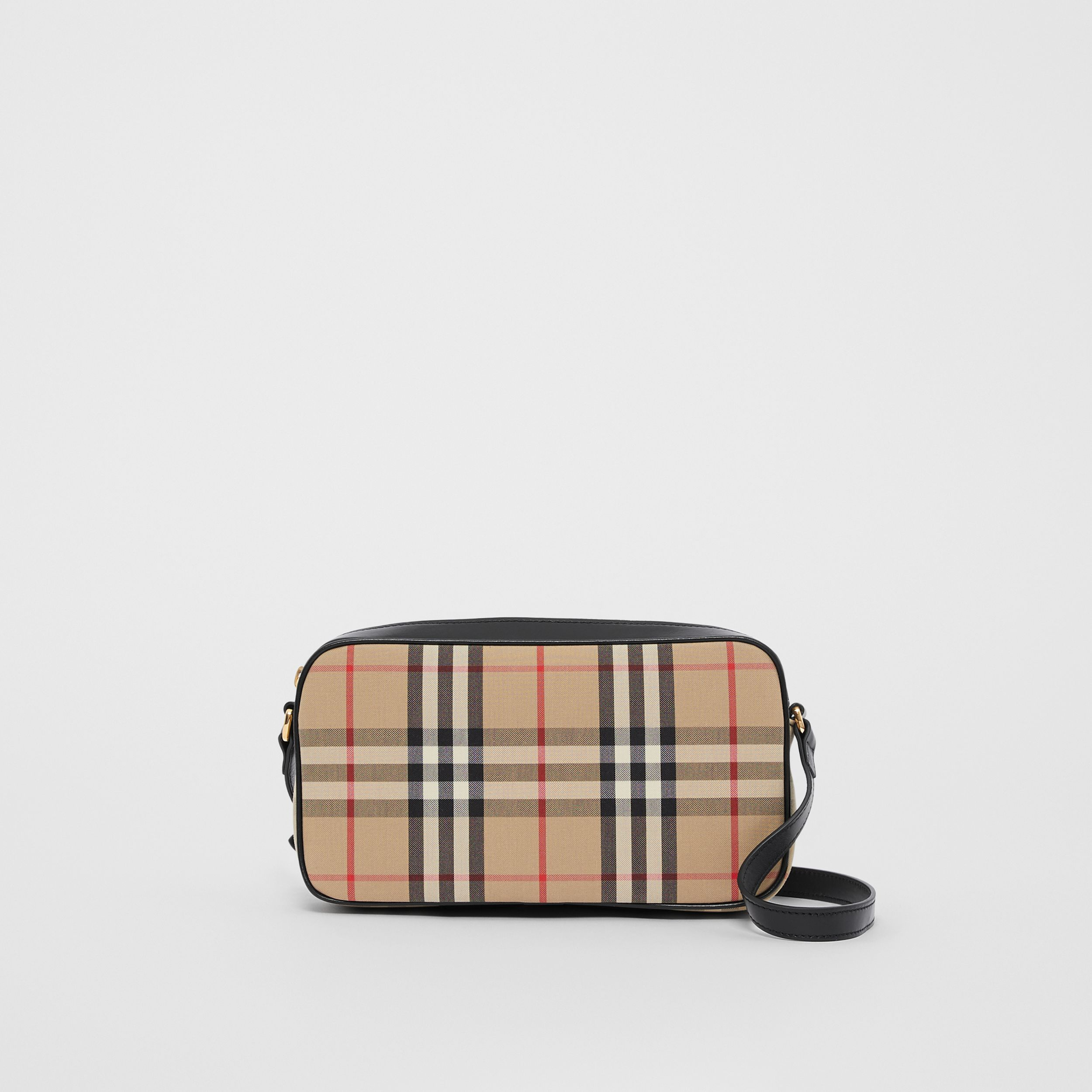 Small Vintage Check and Leather Camera Bag in Archive Beige - Women | Burberry - 1