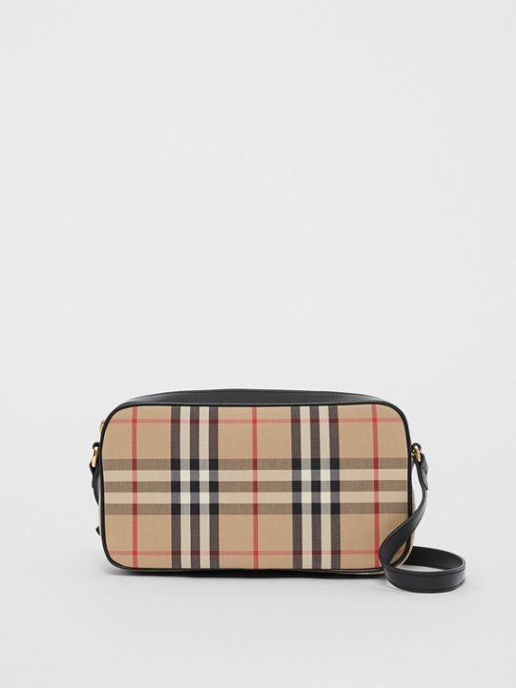 Camera bag piccola con motivo Vintage check e finiture in pelle (Beige Archivio)