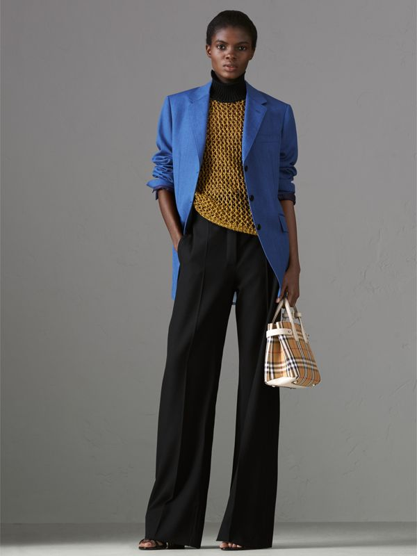 The Small Banner in Vintage Check and Leather in Limestone - Women | Burberry Australia - cell image 2