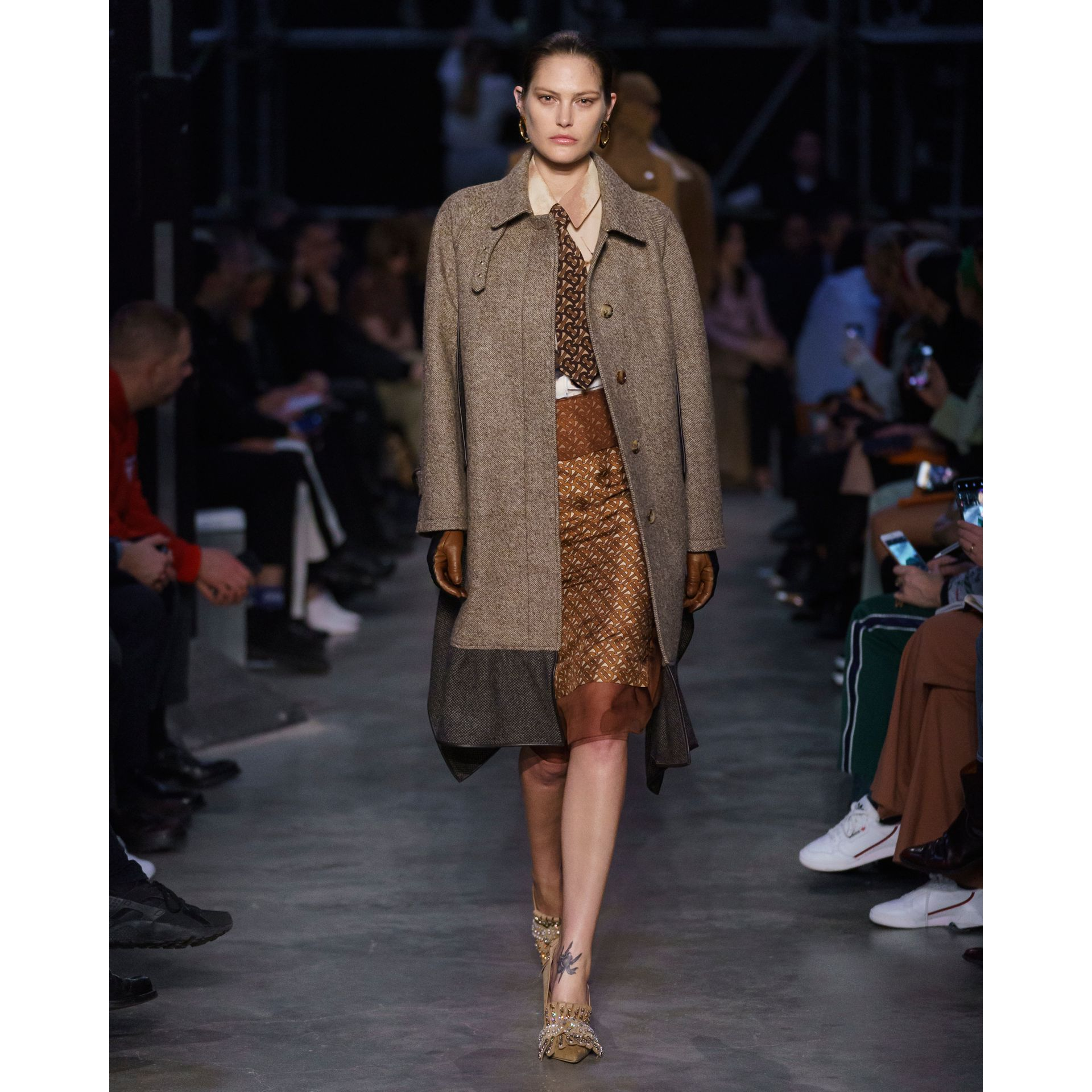 Scarf Detail Wool Mohair Tweed Car Coat in Dark Cheshnut Brown - Women | Burberry - gallery image 6