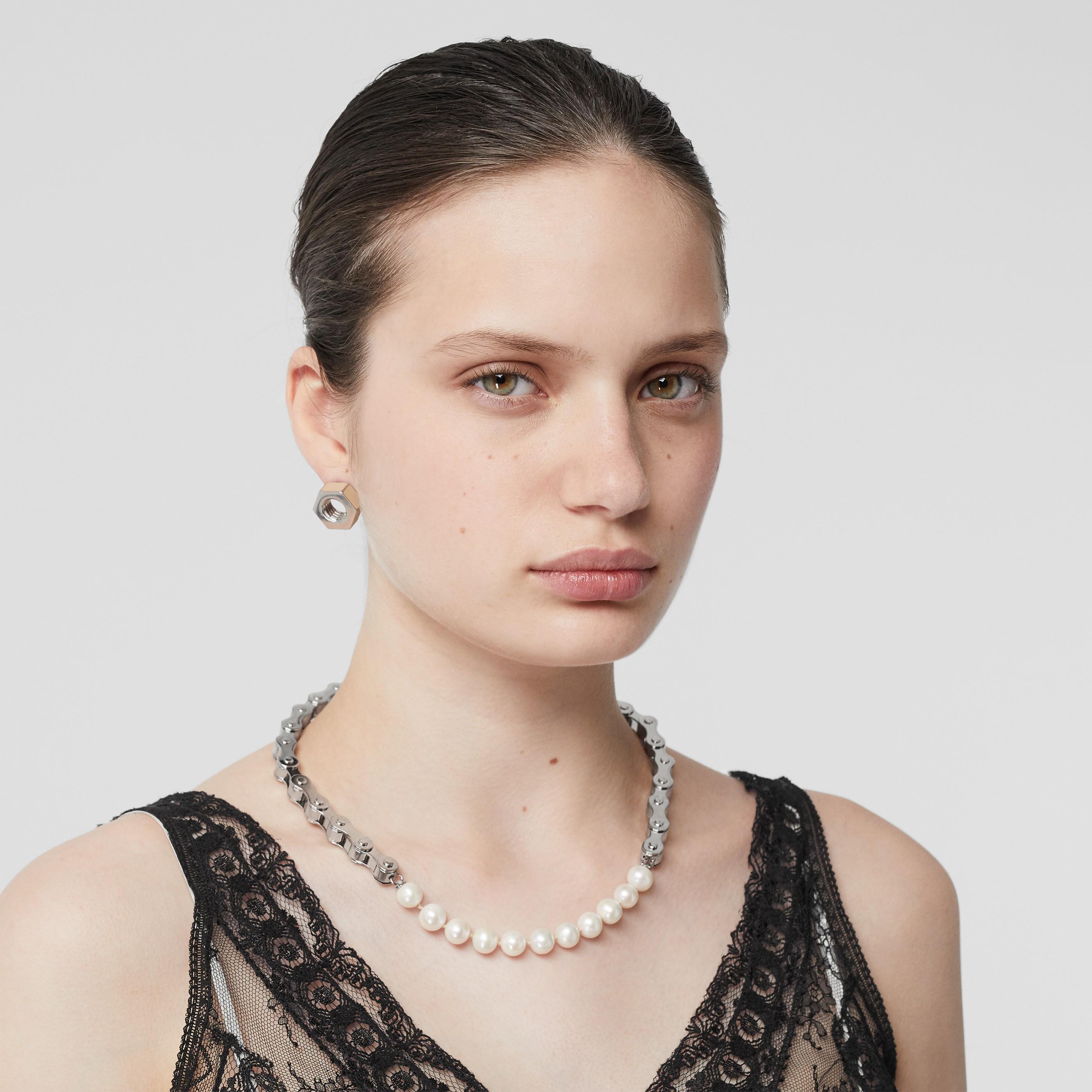 Collana placcata in palladio a forma di catena di bicicletta con perle (Argento)   Burberry - 3