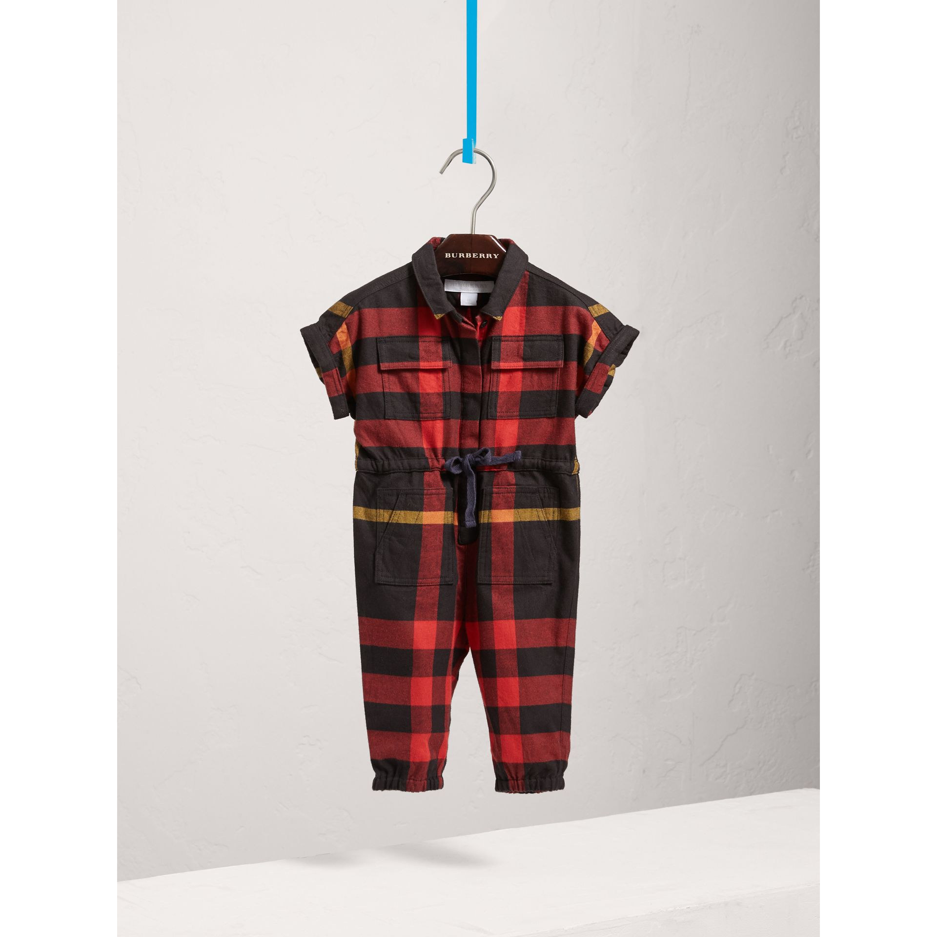 Short-sleeve Check Cotton Flannel Jumpsuit in Black | Burberry Australia - gallery image 0