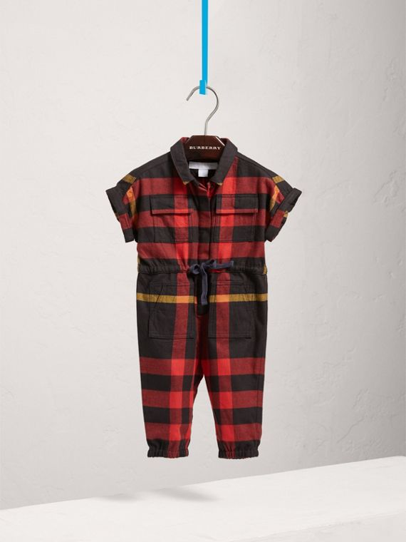 Short-sleeve Check Cotton Flannel Jumpsuit in Black