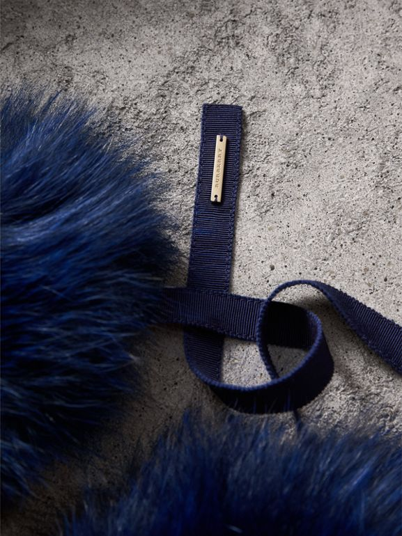 Fox Fur Collar with Check Cashmere Lining in Indigo Blue - Women | Burberry United States - cell image 1