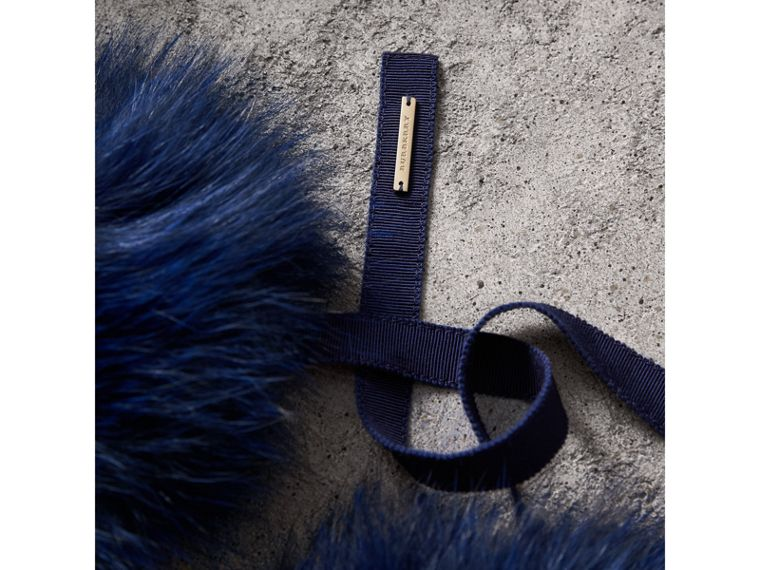 Fox Fur Collar with Check Cashmere Lining in Indigo Blue - Women | Burberry - cell image 1