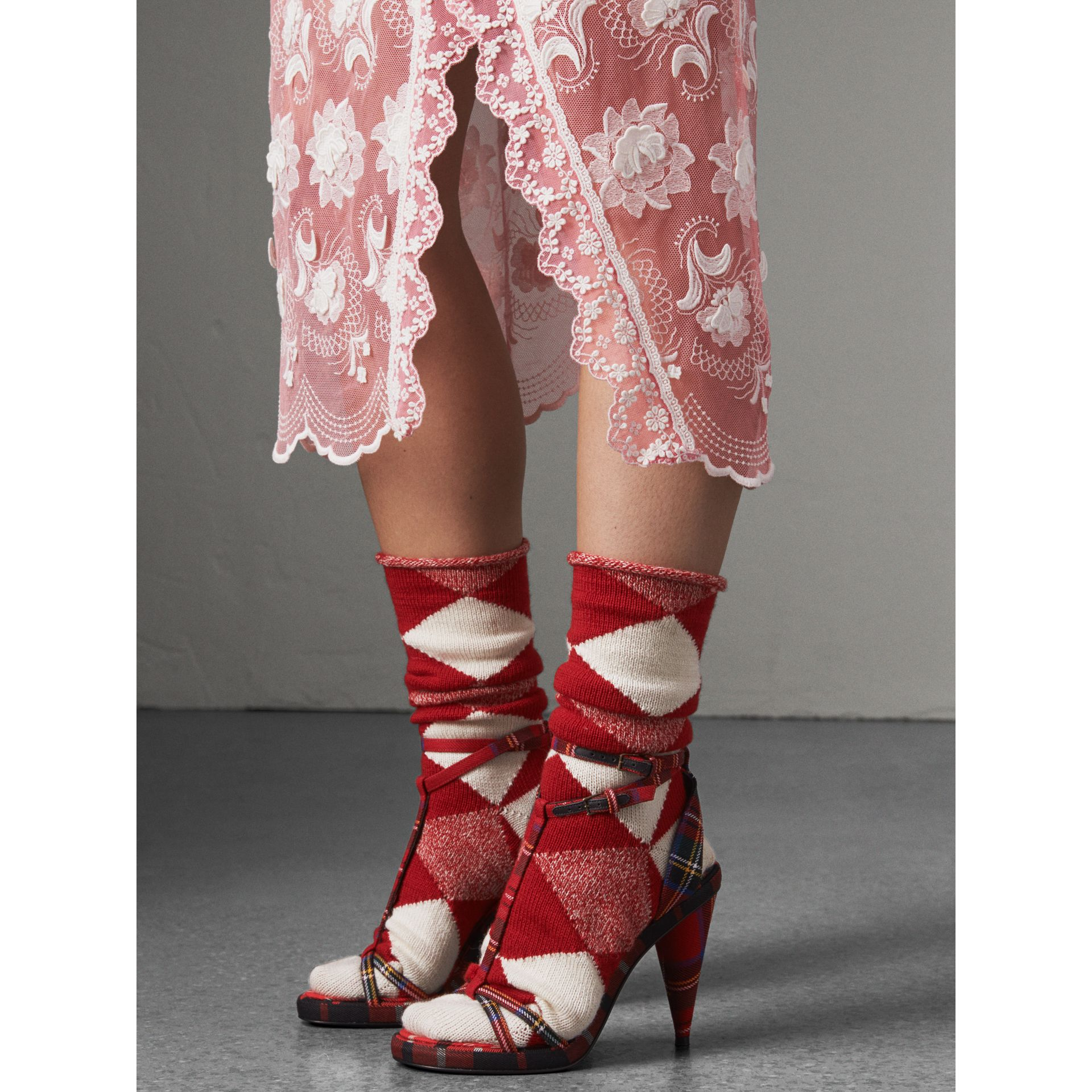 Tartan Wool High Cone-heel Sandals in Vibrant Red - Women | Burberry - gallery image 3