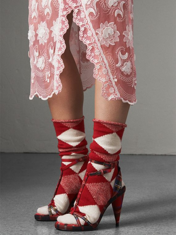Tartan Wool Cone-heel Sandals in Vibrant Red